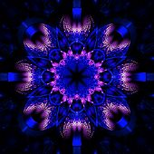stock photo of symmetrical  - Symmetrical fractal pattern with shiny strips - JPG