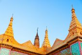 picture of yangon  - Close up of buddhist temple in Yangon - JPG
