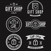 Set of vintage logo, label, badge and logotype elements for gift shop, jewelry, corporate or company poster
