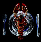 stock photo of lobster  - Lobster on plate hand - JPG