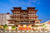 image of gold tooth  - Architecture of Singapore buddha tooth relic temple at dusk - JPG