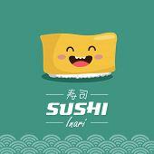 picture of inari  - Vector sushi cartoon character illustration - JPG