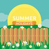 stock photo of wooden fence  - Summer garden scene with wooden fence - JPG