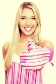 foto of apron  - Blonde woman in a kitchen apron - JPG