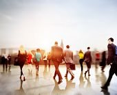 stock photo of commutator  - Business People Rush Hour Walking Commuting City Concept - JPG