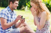 image of propose  - Young man propose to girlfriend on a sunny day - JPG