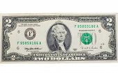 pic of two dollar bill  - the two dollars banknote isolated with clipping path - JPG