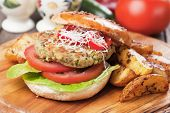 picture of veggie burger  - Vegan burger with tomato and lettuce - JPG