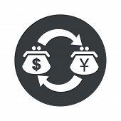 stock photo of yen  - Image of exchange between dollar and yen purses in black circle - JPG