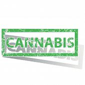pic of cannabis  - Green stamp with word CANNABIS and shadow - JPG