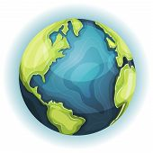 stock photo of continent  - Illustration of a cartoon design earth planet globe icon with hand drawn schematic continent and ocean frontiers - JPG