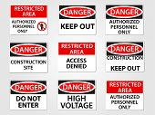 stock photo of restriction  - Danger and Restricted Area Workplace Signs Set - JPG