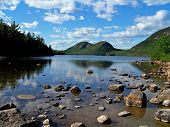 picture of ponds  - Jordan Pond with the Bubble Mountains at Acadia National Park in Maine - JPG