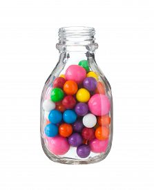 picture of gumballs  - Multicolored gumballs bubble gums close up on white - JPG