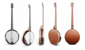 image of banjo  - Banjo views from different angles isolated on white background - JPG