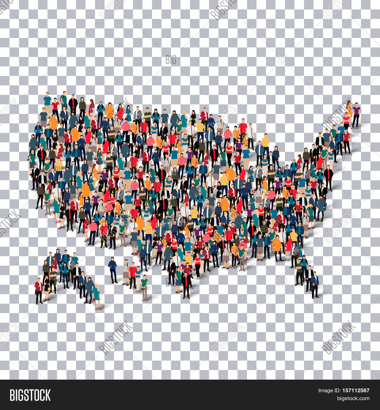 Isometric Set Of Styles People Map Of United States Of America - 3d map usa states