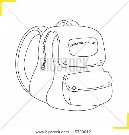 School backpack illustration. Drop shadow silhouette symbol. Student rucksack. Negative space. Isolated vector