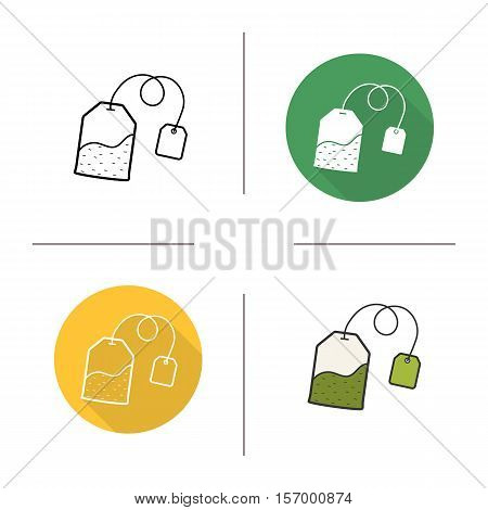 Tea bag icon. Flat design, linear and color styles. Green teabag with label. Isolated vector illustrations