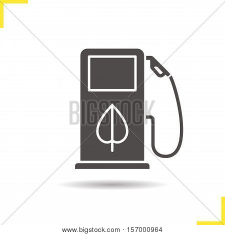 Eco fuel concept icon. Drop shadow silhouette symbol. Petrol station. Negative space. Vector isolated illustration