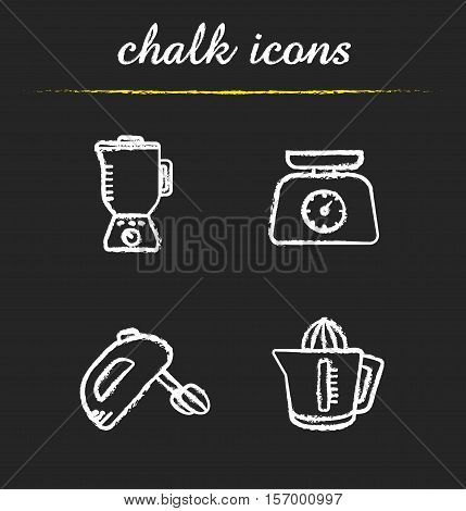 Kitchen appliances chalk icons set. Blender, hand mixer, juicer, kitchen food scales illustrations. Isolated vector chalkboard drawings