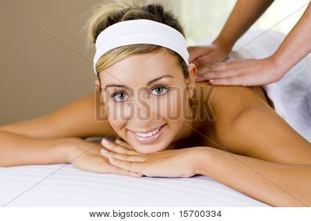 Young woman at a relaxing spa