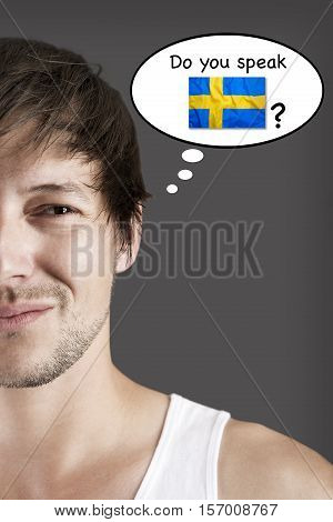 Handsome young student do you speak Swedish?
