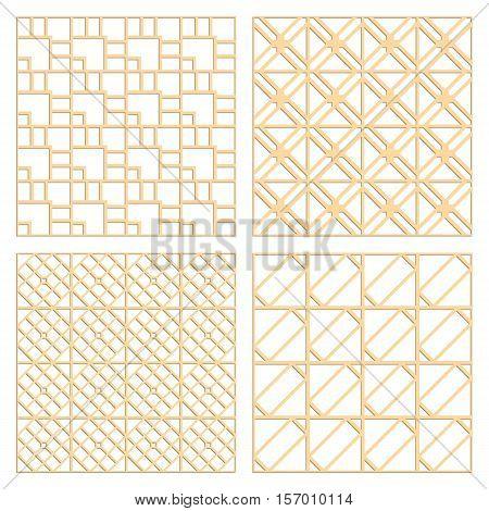 DIY laser cut vector patterns. Art Deco die cut patterns. Ornaments for partition wall. Woodcut panels.
