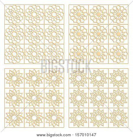 DIY laser cut vector patterns. Islamic die cut patterns. Ornaments for partition wall. Woodcut panels.