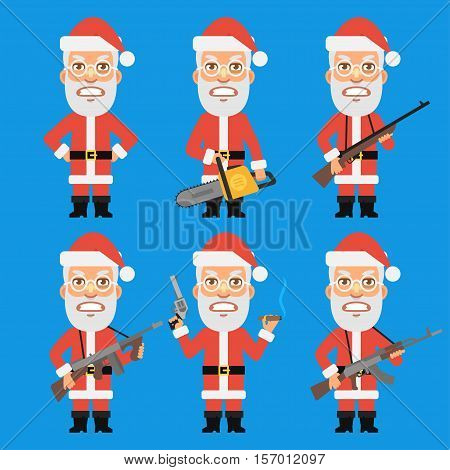 Vector Illustration, Angry Santa Claus Holding Weapons, Format EPS 8