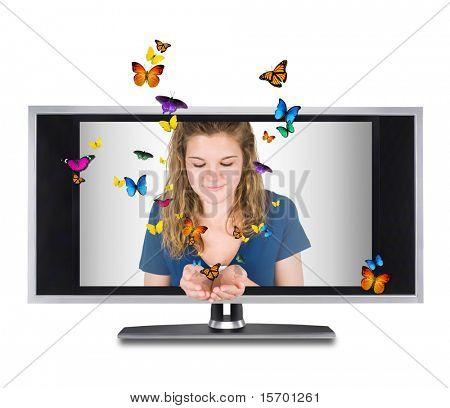 Butterflies flying through a flat screen tv