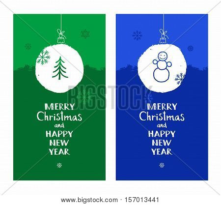 Merry Christmas, postcard, snow globe, tree, snowman, blue, green, English font. Vector colored flat cards with white snow ball. The inscription in English, New year greetings. Imitation snow.