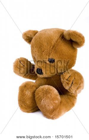 Big brown teddy bear isolated on white