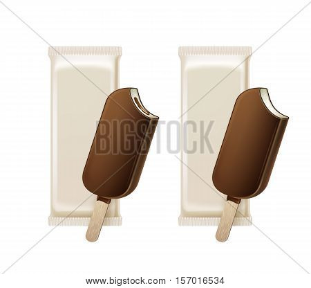 Vector Set of Bitten Popsicle Choc-ice Lollipop Ice Cream in Chocolate Glaze on Stick with Filling with White Plastic Foil Wrapper for Branding Package Design Close up Isolated on Background.