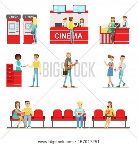 Happy People In Cinema Theatre, Buying Tickets And Popcorn, And Sitting On Their Red Sits To Watch A Movie In 3D Glasses. Smiling Men And Women In Movie Theatre Indoors Set Of Cartoon Vector Illustrations.