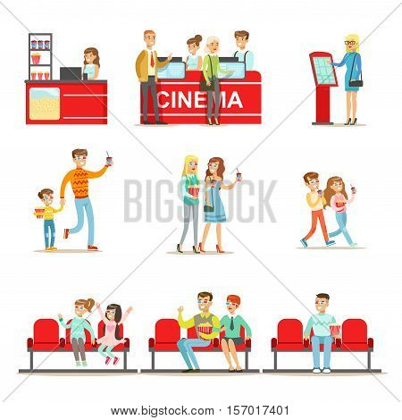 Happy People In Cinema Theatre, Purchasing Tickets And Popcorn, And Sitting On Their Red Sits To Watch A Movie In 3D Glasses. Smiling Men , Women And Kids In Movie Theatre Indoors Set Of Cartoon Vector Illustrations.