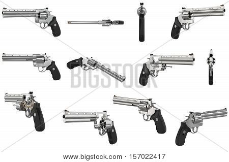 Revolver Firearm Gun Chrome Set