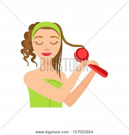 Girl Curling The Hair WIth Electric Curler, Woman With Closed Eyes Doing Home Spa Procedure Illustration. Portrait Of Young Female Person Performing Beatifying Routine Herself In The Bathroom After Shower.