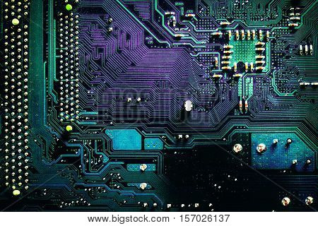 Dark Pcb Board Integrated Circuit Pc Parts Motherboard Chip Processor Texture Background