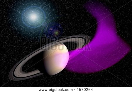 Saturn And Nebula
