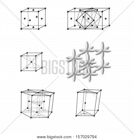 Illustration of an ionic crystal structure of sodium chloride, NaCl Illustration of a face-centered cubic lattice of Cu, Au, Ag, Al, a body-centered cubic lattice of Fe, Na, K, Ba, hexagonal lattice Mg, Co, Be