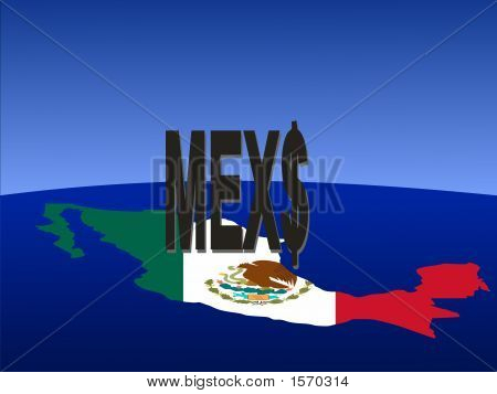 Mexican Peso Sign With Map