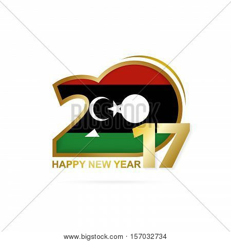 Year 2017 With Libya Flag Pattern. Happy New Year Design On White Background.