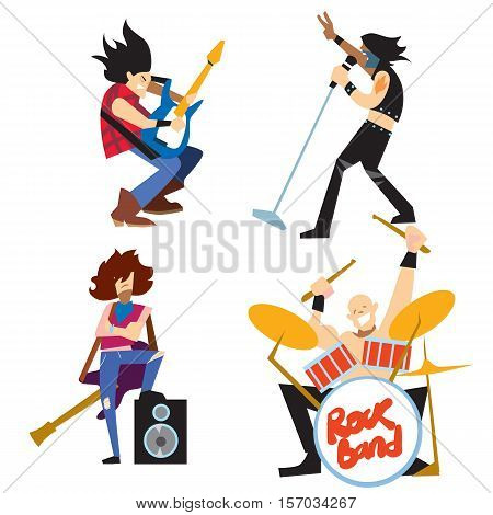 Rock band, music group with musicians concept of artistic people vector illustration. Singer, guitarist, drummer, and bassist isolated characters performing. Rock star concept in flat design.
