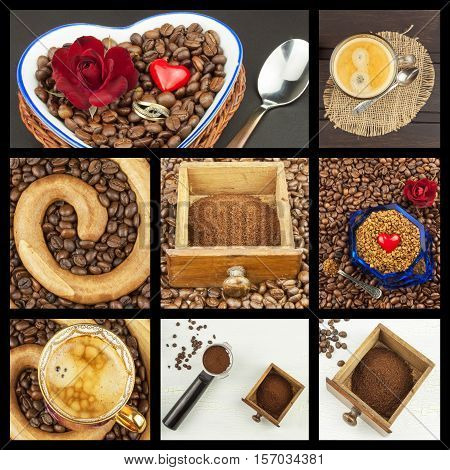 We love coffee. Coffee Collage. Advertising for the sale of coffee. Detailed views of different types of coffee. Decorate store coffee.