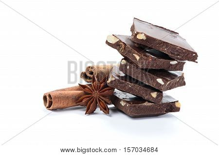 Broken Chocolate Bar And Spices Isolated