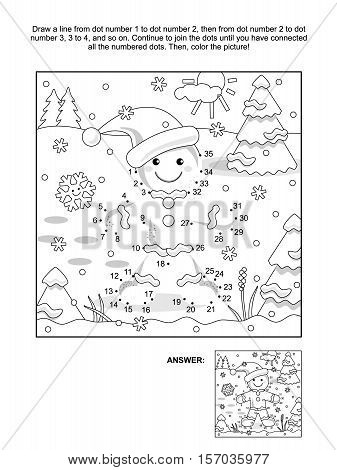 New Year or Christmas themed connect the dots picture puzzle and coloring page with ginger man. Answer included.