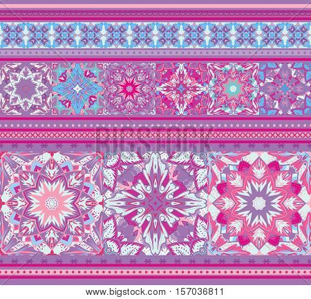Rich ethnic striped seamless pattern geometric design. Mandala style. Vector illustraton background. Violet blue.