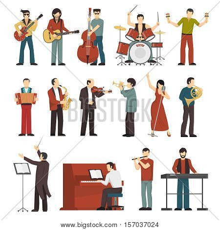 Colored musicians figures with different musical Instruments icons set of conductor guitarist singer drummer trumpet contrabass player flat isolated vector illustration