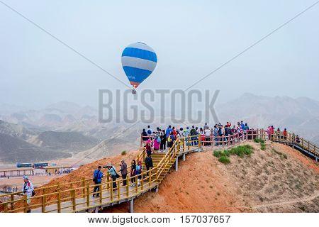 Hot Air Balloon Azt Zhangye Danxia Geopark, China