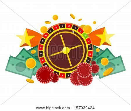 Casino poster with roulette wheel, coins dice money chips craps stars isolated on white. Gambling luck, fortune and bet, risk and leisure, jackpot chance. Casino banner. Vector illustration